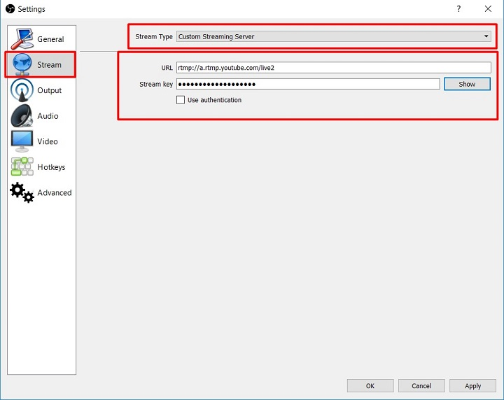 Setting Live Streaming Di Youtube via OBS Stream Key