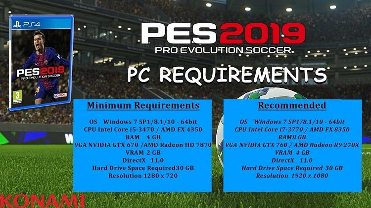 Spesifikasi PES 2019 untuk PC dan Laptop